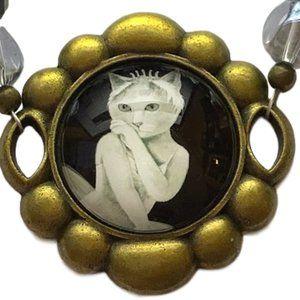 White Pin-up Kitty Beaded Bracelet NEW